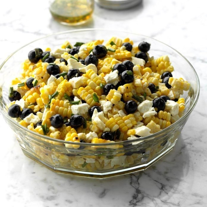 White Balsamic Blueberry, Corn, and Feta Salad