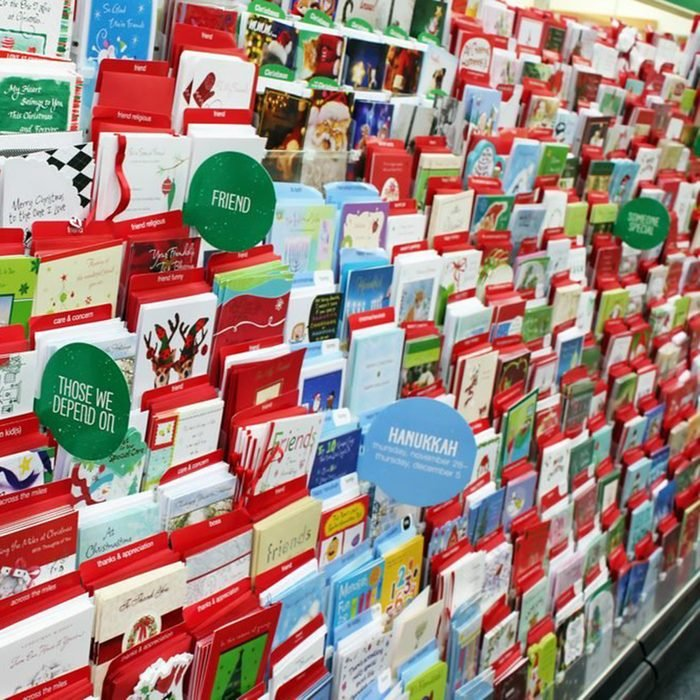 TORONTO, CANADA - NOVEMBER 30, 2013: Greeting cards on display in a store. Hallmark Cards and American Greetings are the largest producers of greeting cards in the world.; Shutterstock ID 204375787; Job (TFH, TOH, RD, BNB, CWM, CM): TOH