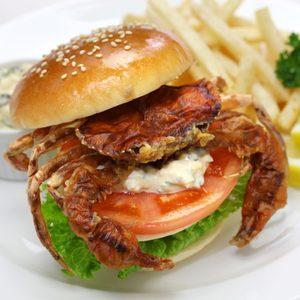 soft shell crab sandwich, spider sandwich