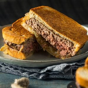 Homemade Cheesy Patty Melt Sandwich with Cheese and Onions