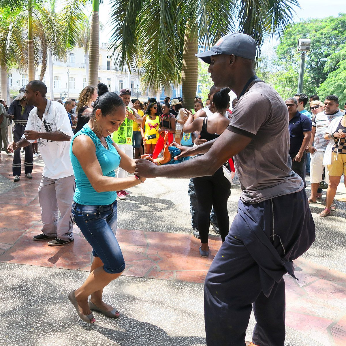 street dances of salsa in one of the central squares in Havana, where both the locals and the tourists can take the dance floor and dance till they drop