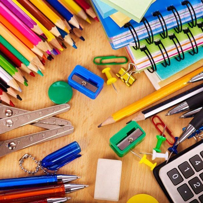 School office supplies on board.; Shutterstock ID 80002786