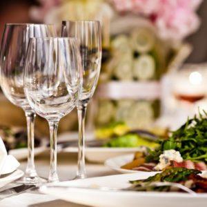 Empty glasses set in restaurant;