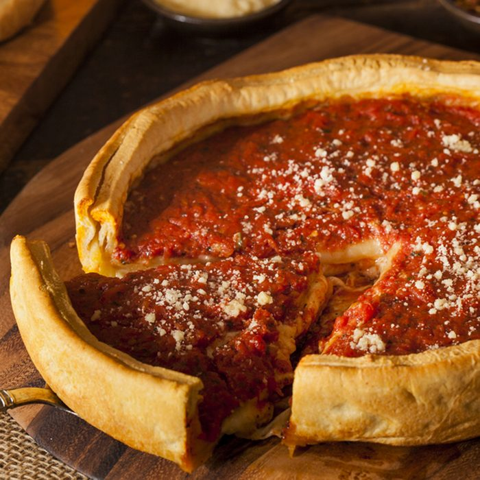 Chicago Style Deep Dish Cheese Pizza with Tomato Sauce; Shutterstock ID 172806653; Job (TFH, TOH, RD, BNB, CWM, CM): Taste of Home