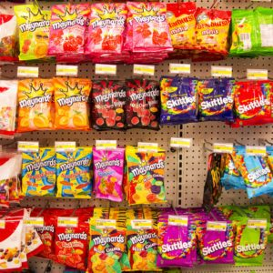 Assorted candy is on display in a grocery store