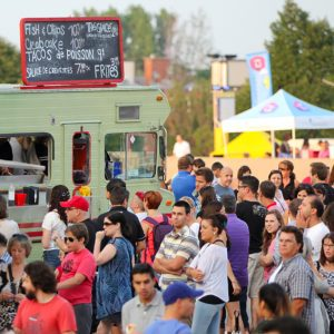 MONTREAL, CANADA - AUGUST 01: More than 40 food trucks on the esplanade Financiere Sun Life for the event first friday of the month on august 01 in Montreal, Canada. ; Shutterstock ID 208819690