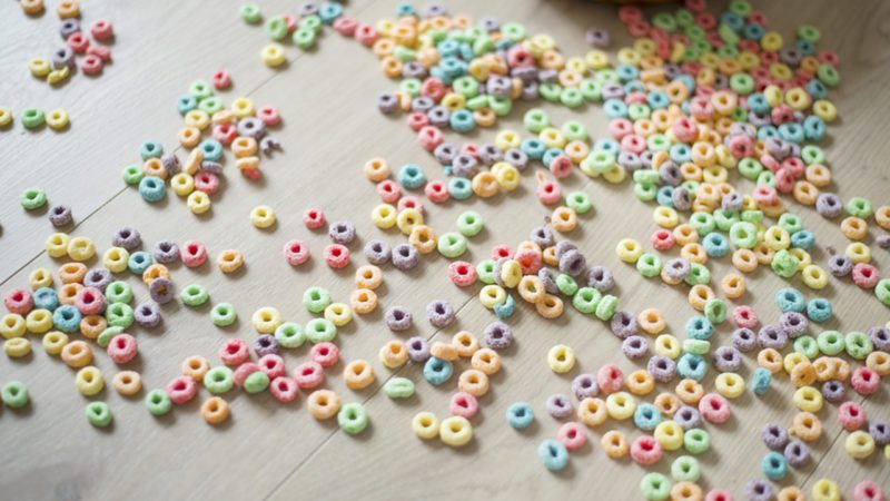 fruit (froot) loops spilled on floor