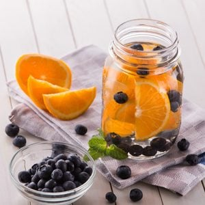 Summer fresh fruit Flavored infused water mix of orange, blueberry and mint