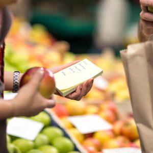 checking list customer at market