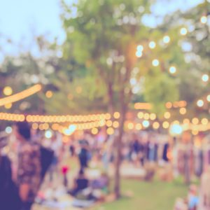 abstract blur image of day festival in garden with bokeh for background usage