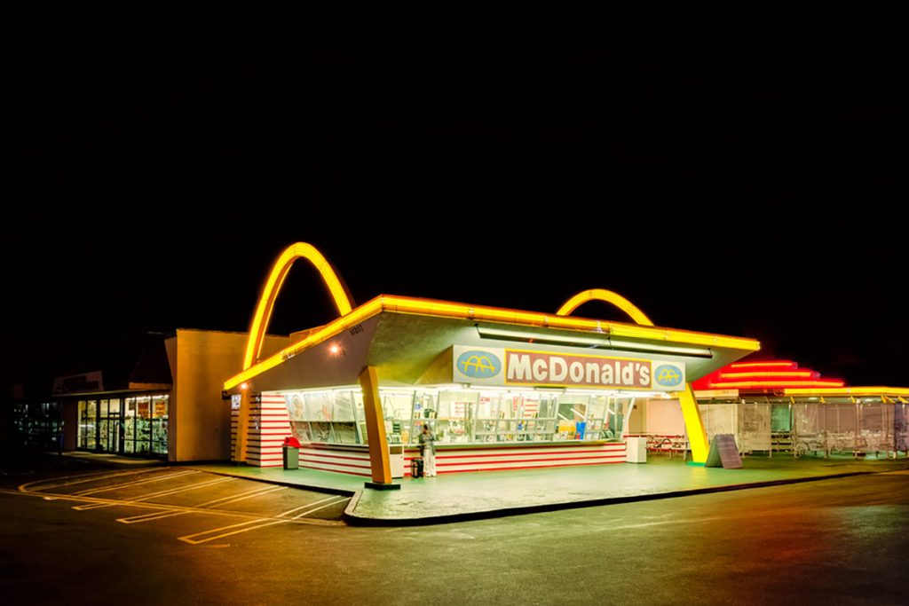 The oldest operating McDonald's restaurant in the world in Downey, Los Angeles, California, USA on March 31, 2013.