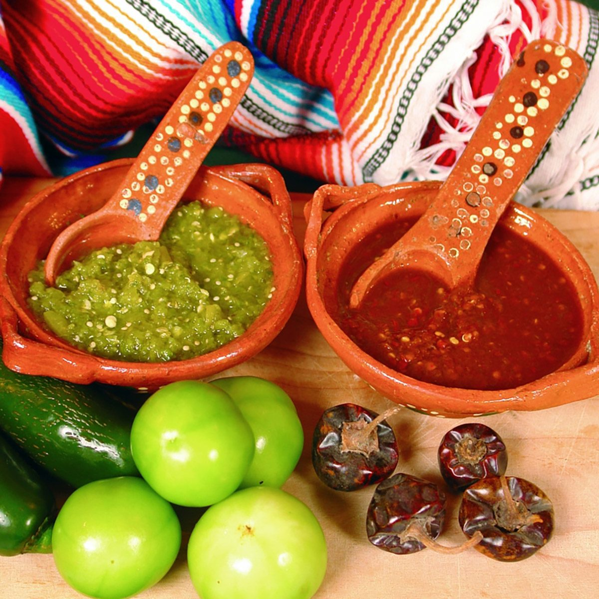 Typical mexican hot sauces red and green