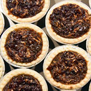 Mincemeat tarts on baking sheet