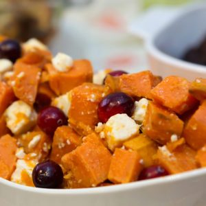 Tasty Sweet Potato Appetizer Dish with Cranberries and Feta