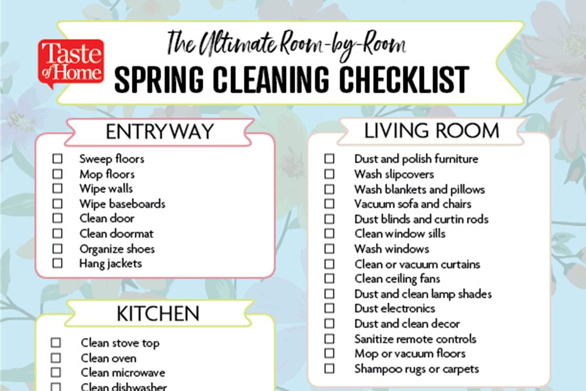 the ultimate room by room spring cleaning checklist taste of home