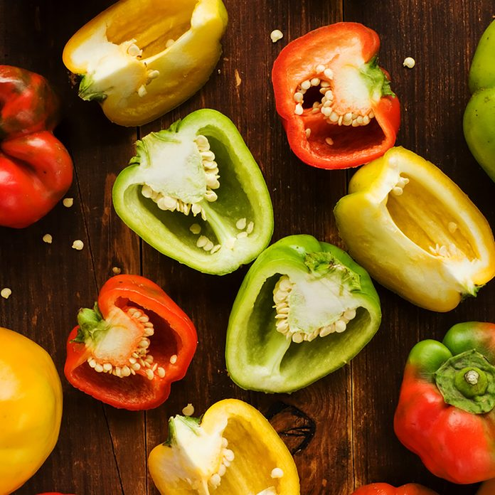 Group of colorful peppers on the wooden background. Viewed from above.; Shutterstock ID 156793841; Job (TFH, TOH, RD, BNB, CWM, CM): Taste of Home