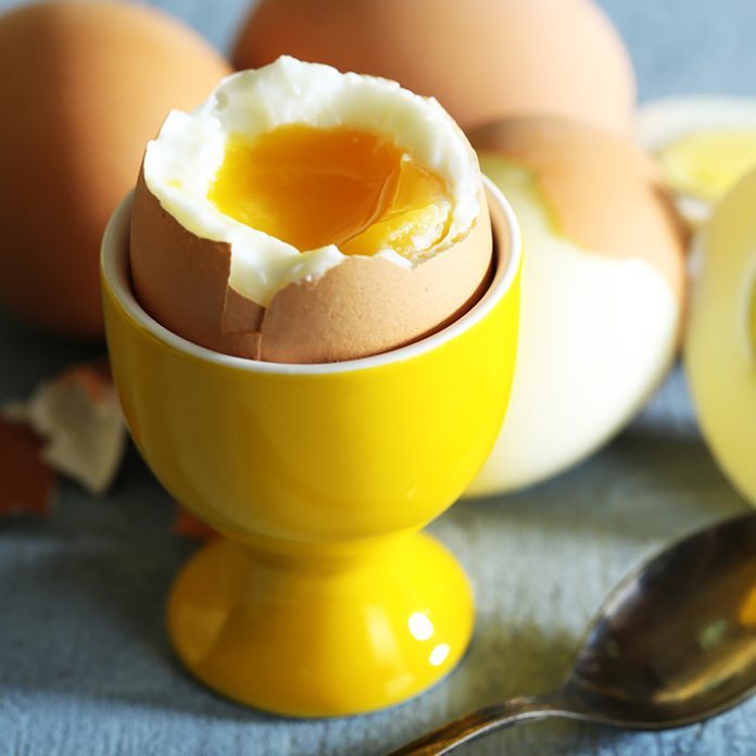 Boiled eggs on color wooden background; Shutterstock ID 184219730; Job (TFH, TOH, RD, BNB, CWM, CM): Taste of Home