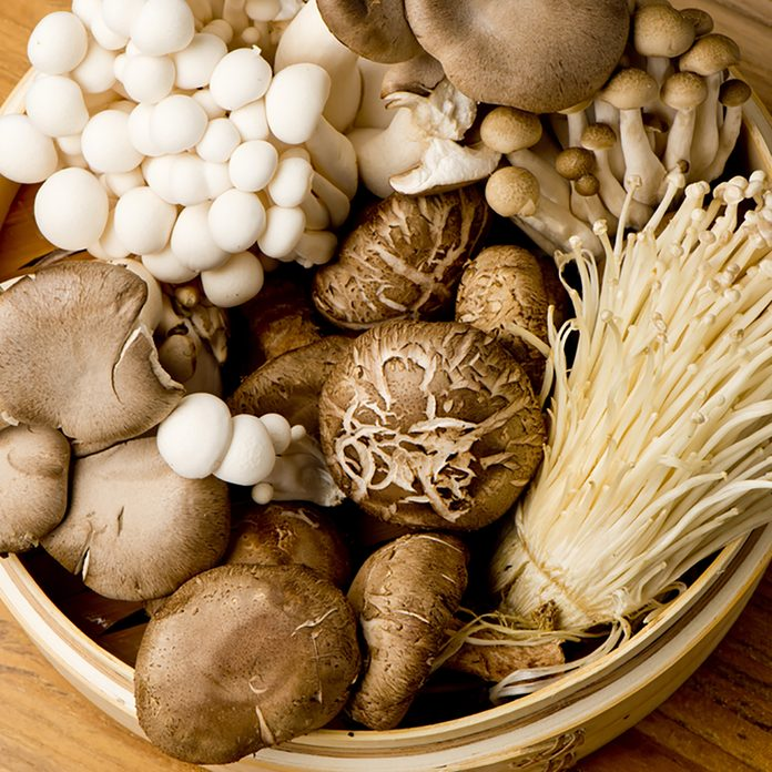 Variety of Mushrooms in a basket, closeup and overhead; Shutterstock ID 267579800; Job (TFH, TOH, RD, BNB, CWM, CM): Taste of Home