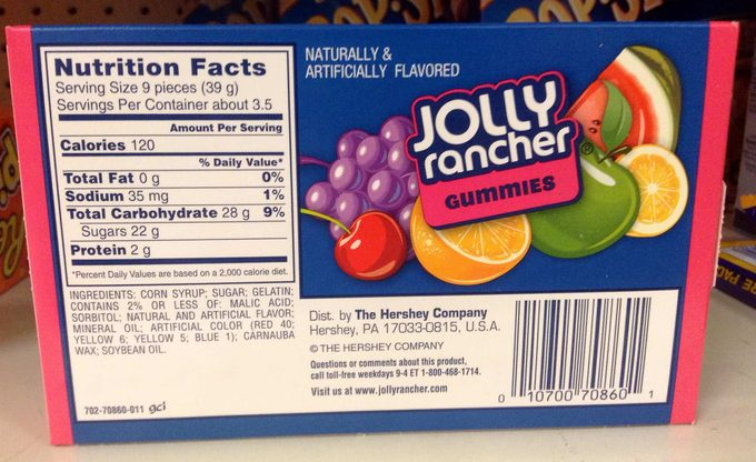 Back of Jolly Rancher's package