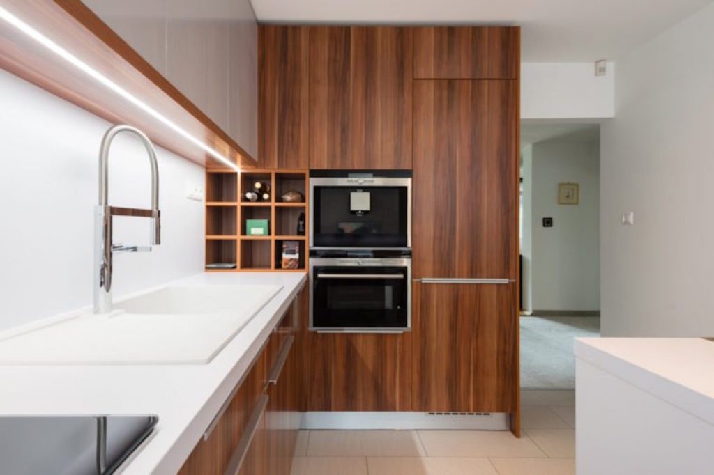 wooden kitchen cabinets and sink