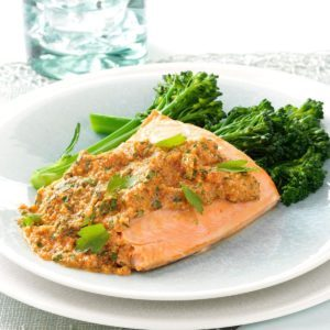 Baked Salmon with Herbed Pecan Romesco