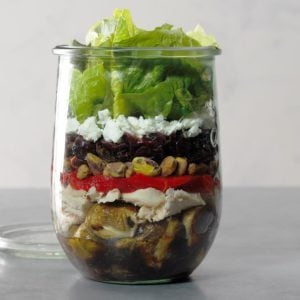Chicken and Brussels Sprouts Salad in a Jar