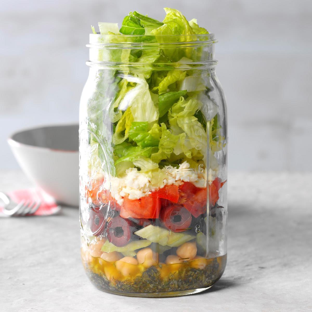 Chopped Greek Salad in a Jar