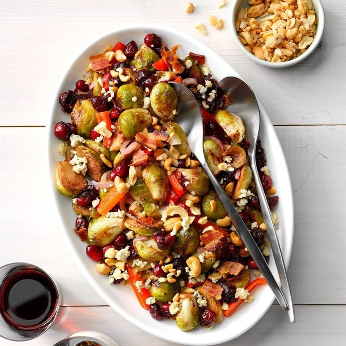 Crunchy Bacon Blue Cheese Red Pepper Brussels Sprouts