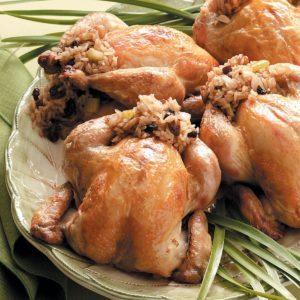 Cornish Hens Stuffed with Rice
