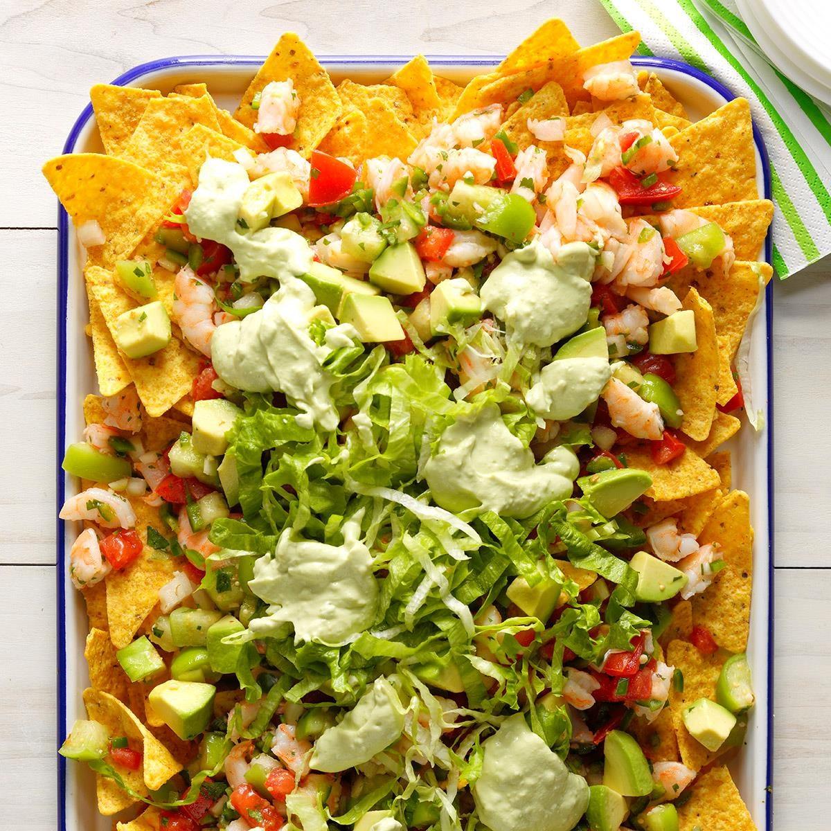 Fresh shrimp and avocado nachos