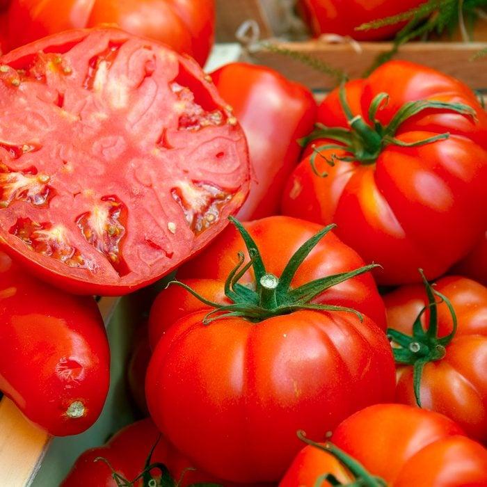 Sliced Ripe Beefsteak Tomato At Market