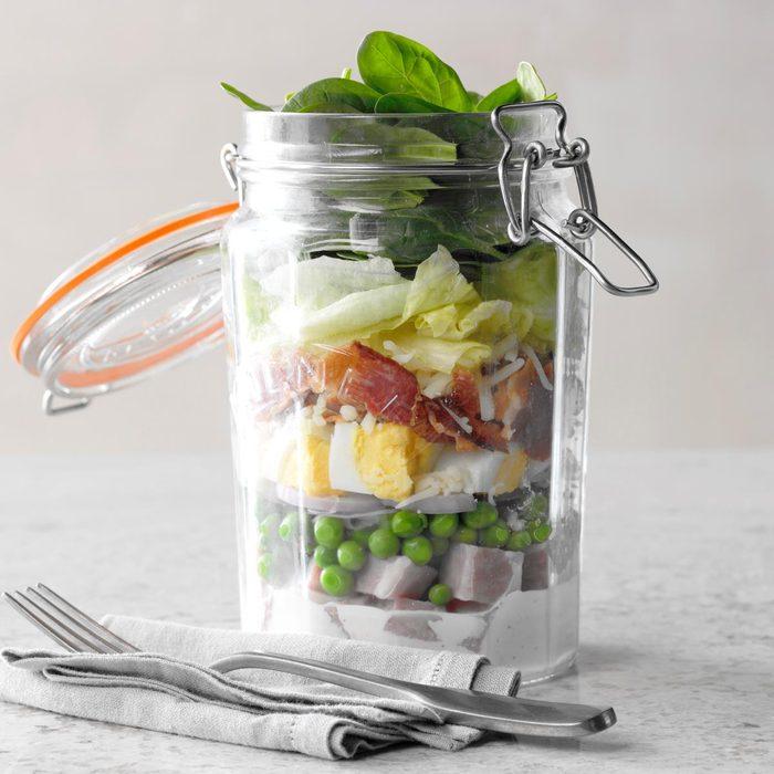 Ham and Swiss Salad in a Jar