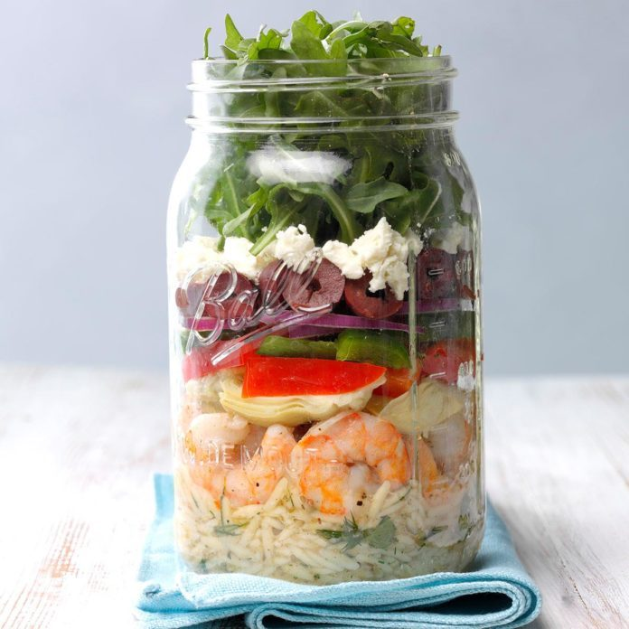Mediterranean Shrimp Salad in a Jar