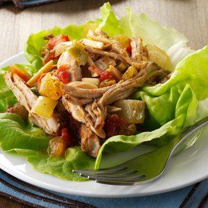 Pressure-Cooker Pork Picadillo Lettuce Wraps