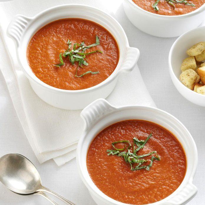 Roasted Tomato Soup with Fresh Basil