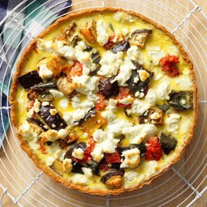 Roasted Vegetable and Chevre Quiche