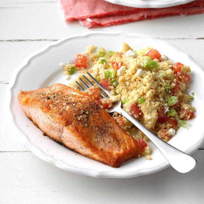 Day 9: Salmon with Tomato-Goat Cheese Couscous