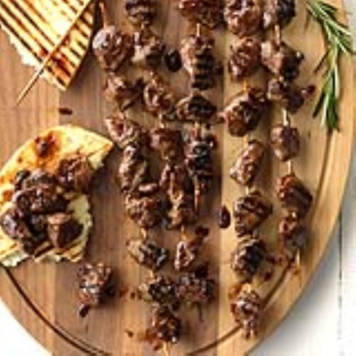 Skewered Lamb with Blackberry-Balsamic Glaze