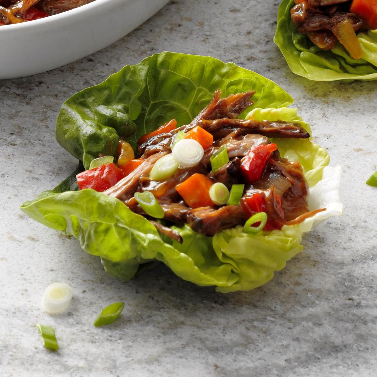Slow-Cooker Shredded Beef Lettuce Cups