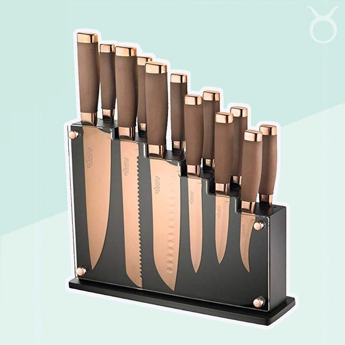 Taurus durable copper-tone knife block