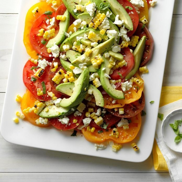 Tomato Avocado and Grilled Corn Salad