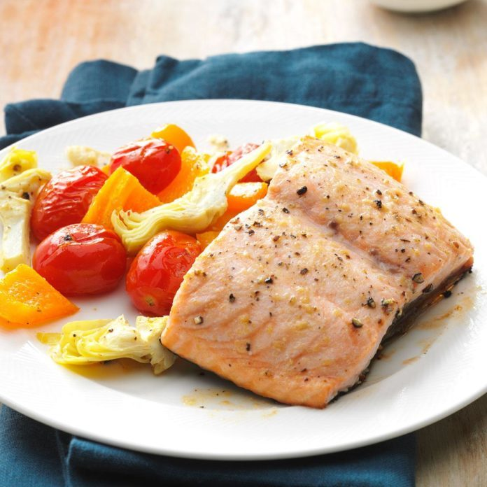 Caesar Salmon with Roasted Tomatoes & Artichokes