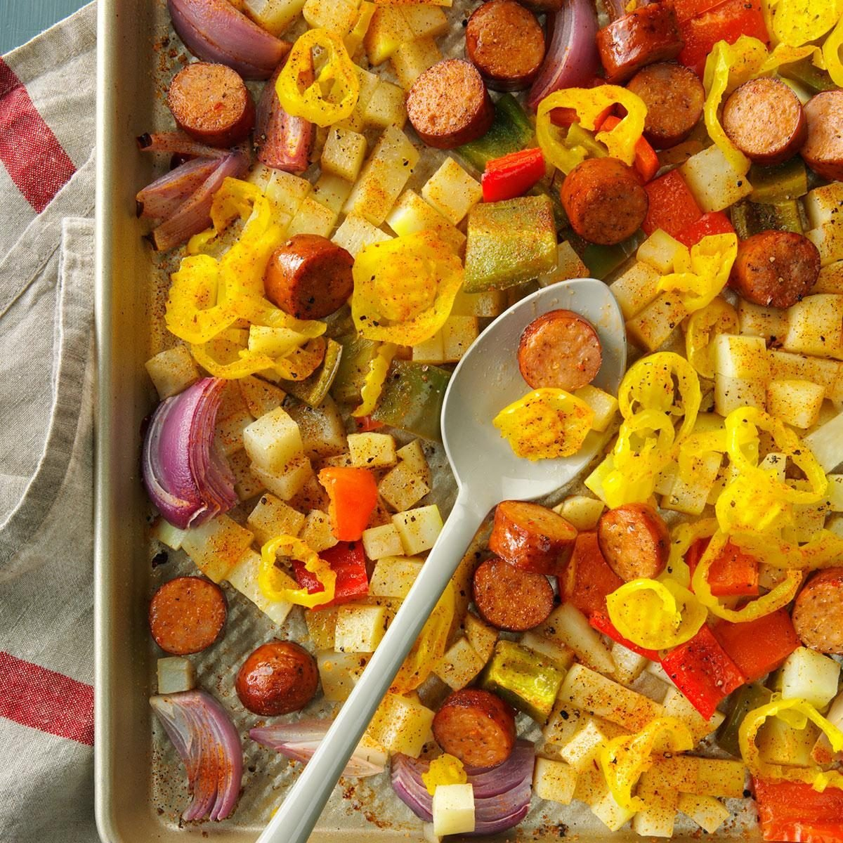Spicy Roasted Sausage Potatoes And Peppers Recipe Taste