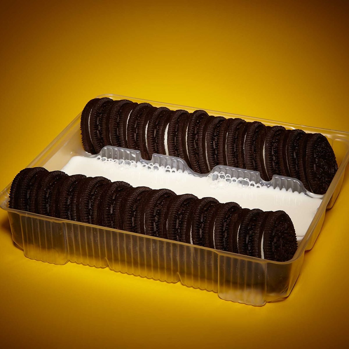 Oreo tray with the middle row filled with milk