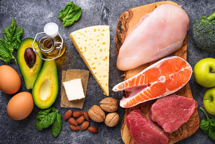 Healthy low carbs products. Ketogenic diet concept. Top view; Shutterstock ID 1046974864; Job (TFH, TOH, RD, BNB, CWM, CM): TOH Keto and diabetes