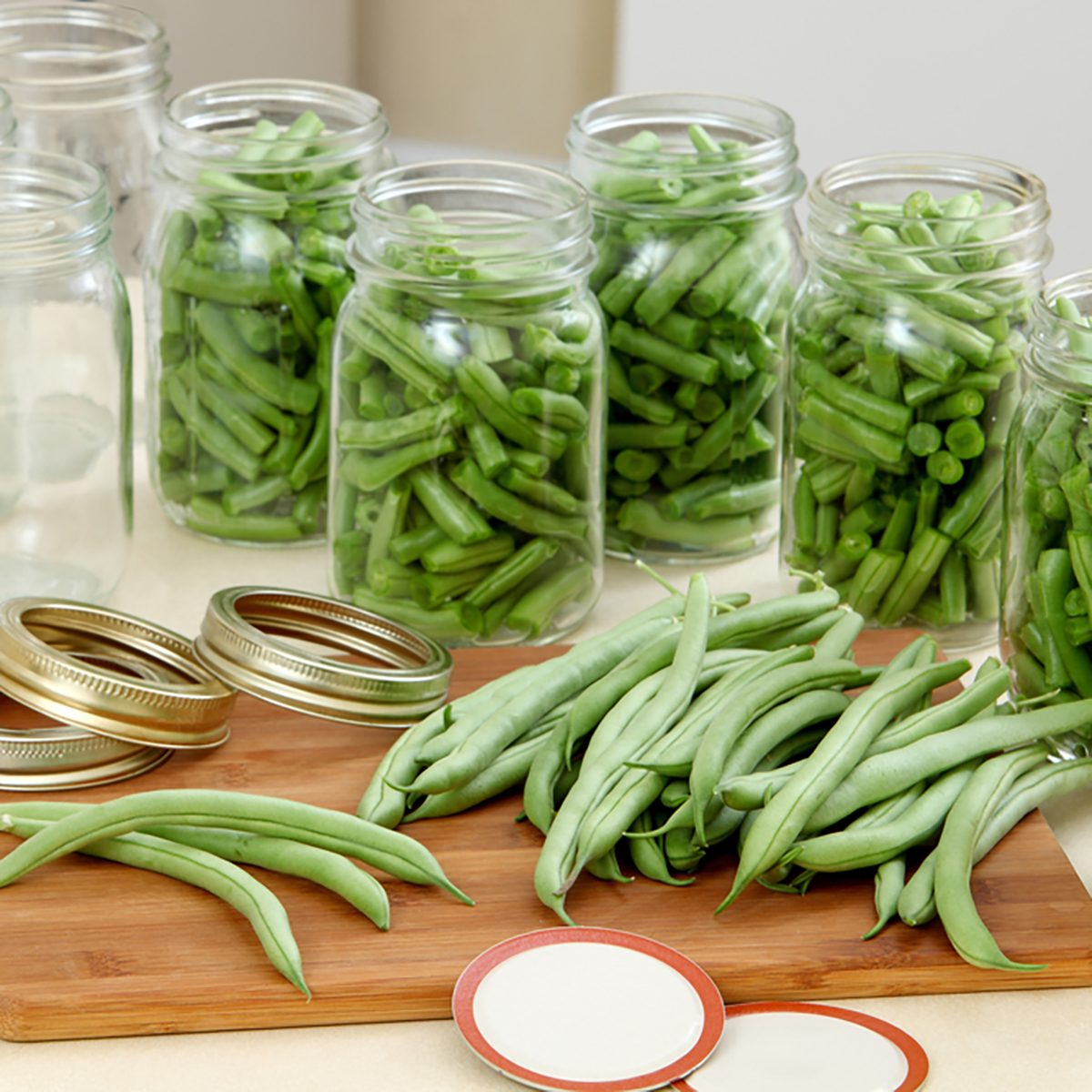 Green beans in a traditional process of canning and preserving at home