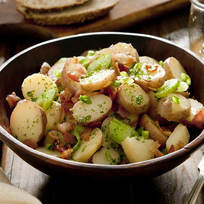 Closeup of a bowl of fresh potato salad