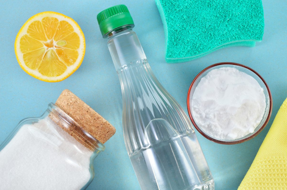 Eco-friendly natural cleaners. Vinegar, baking soda, salt, lemon and cloth. Homemade green cleaning