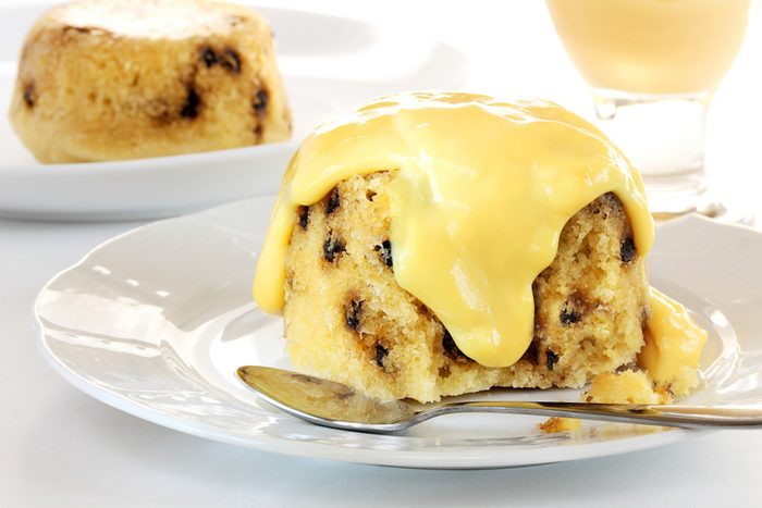 Spotted dick pudding with custard