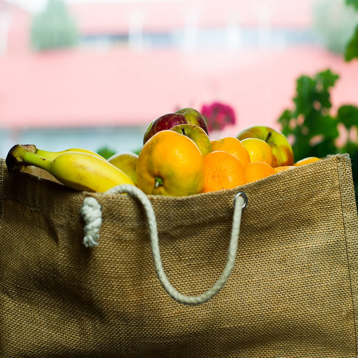 Grocery bag full of fruits